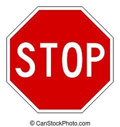 sur, arrêt, isolé, signe, blanc, route