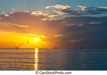 sur, atlantique, levers de soleil, océan