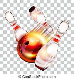 sur, balle, epingles, voler, bowling