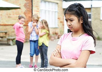 sur, bavardé, être, école, malheureux, amis fille