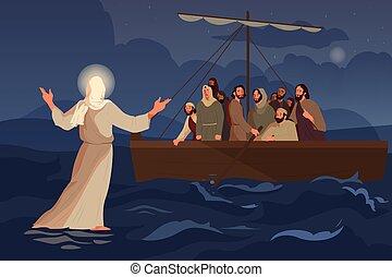 sur, bible, jésus, disciples, marche, narratives, water., scie