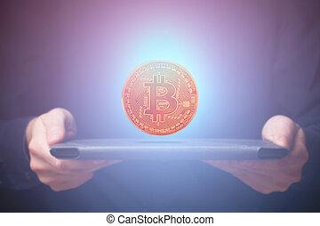 sur, bitcoin, tablette