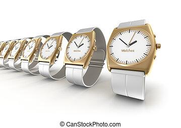 sur, blanc, montres