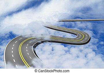 sur, bleu, haut, route, ciel, nuages
