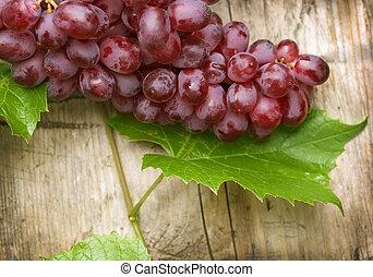 sur, bois, fond, raisins, tas