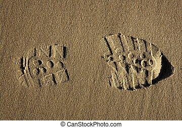 sur, botte, sable, chaussure, empreinte, plage