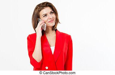 sur, brunette, conversation, mobile, sur, -, jeune, space., isolé, désinvolte, téléphoner femme, quelque chose, fond, portrait, blanc, copie, sourire