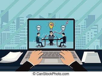 sur, bureaux, moderne, asseoir, direction, sien, point, créatif, head., écran, trois, notebook., clavier, ampoule, lumière, vue, homme affaires, idea., dactylographie, cahier, main, espace de travail