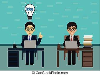 sur, bureaux, person., asseoir, sien, deux, vecteur, créatif, tête, leadership., ampoule, table légère, ouvrier, homme affaires, bureau, idea., computer., cahier, une, illustration, espace de travail