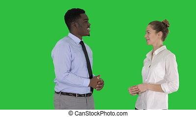 sur, business, chroma, écran, conversation, américain, vert, key., type, afro, girl