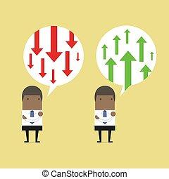 sur, business, pensée, positif, negative., flèche, africaine, homme affaires