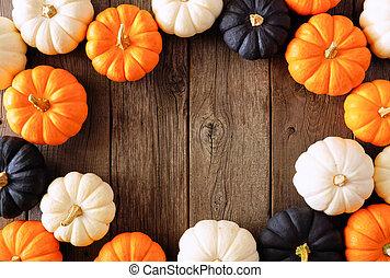 sur, cadre, blanc, automne, noir, halloween, couleurs, citrouille, bois, rustique, orange