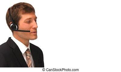 sur, casque à écouteurs, homme affaires, parler, jeune