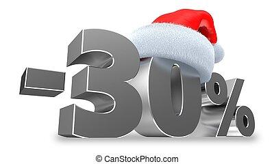 sur, cent, vente, illustration, -30, fond, blanc, 3d