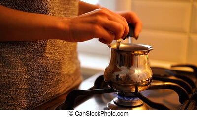 sur, cezve, cuisine, essence, main, café, direction, femme,...