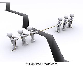sur, chaque, deux, baston, corde, autre, traction, fissure, équipes