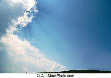 sur, ciel bleu, soleil brille, céleste