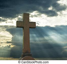 sur, ciel, croix, nuageux