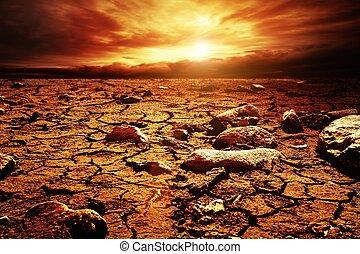 sur, ciel, désert, orageux