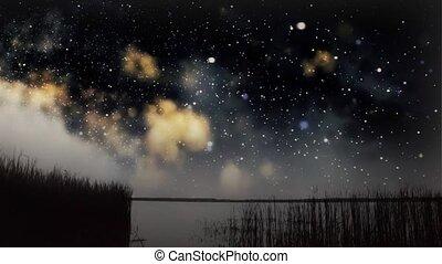 sur, ciel, lac, nuit
