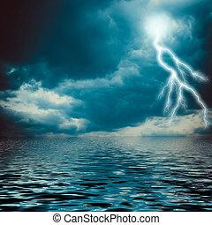 sur, ciel, nuageux, éclair, sombre, mer, grève