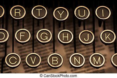 sur, clés machine écrire, vendange, manuel, papier journal