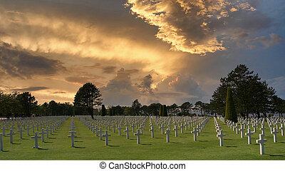 sur, colleville, アメリカ人, 墓地, ノルマンディー, mer, フランス