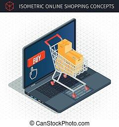 sur, concept, faire courses ligne