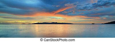 sur, coucher soleil, coloré, océan