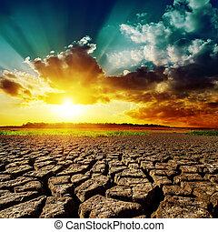 sur, coucher soleil, désert, il
