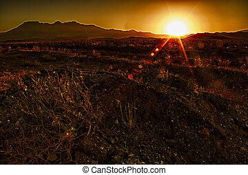 sur, coucher soleil, désert