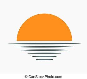 sur, coucher soleil, icon., mer