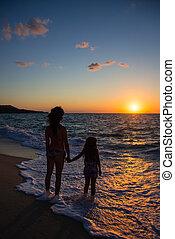 sur, coucher soleil, mer