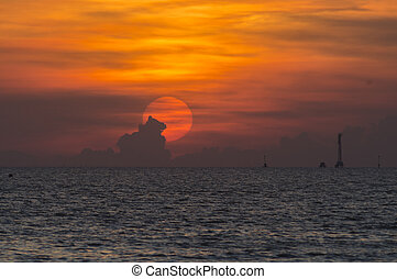 sur, coucher soleil, mer, coloré