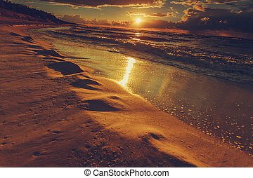 sur, coucher soleil, nuages, plage, mer, beatiful