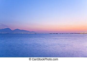 sur, coucher soleil, scène, océan
