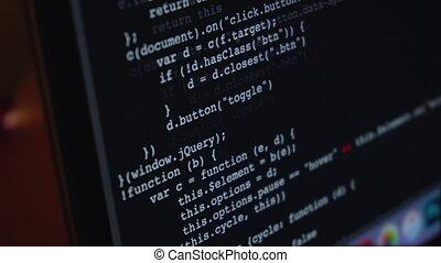 sur, courant, code, écran ordinateur