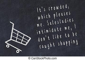 sur, court, achats, citation, charrette, craie, noir, ...