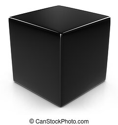 sur, cube, noir, isolé, blanc