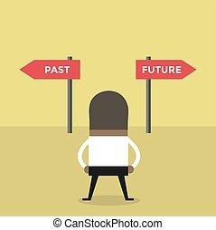 sur, décision, passé, avenir, way., africaine, homme affaires