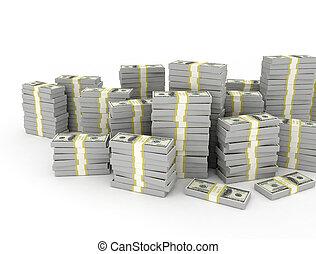 sur, dollar, fond blanc, tas