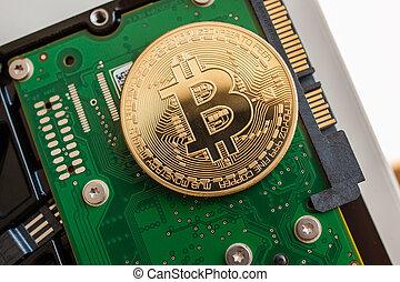 sur, dur, bitcoin, jeûne, conduire, disque ordinateur