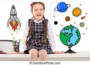 sur, espace, école, voyager, rêver, girl