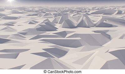 sur, fait boucle, vol, résumé, low-polygonal, animation, sun...