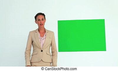 sur, femme affaires, crosse, affiche, utilisation, parler