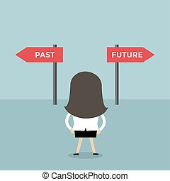 sur, femme affaires, décision, passé, avenir, way.