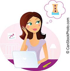 sur, femme, bureau, rêver, masage