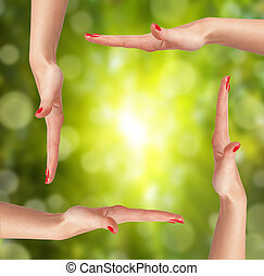 sur, femme, clair, fond, main