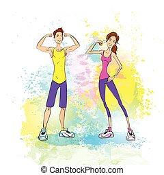 sur, femme, coloré, exposition, muscles, couple, athlétique, culturiste, éclaboussure, fond, bicep, sport, peinture, homme