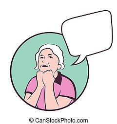 sur, femme, copyspace, coloré, pensée, vecteur, mûrir, life., caucasien
